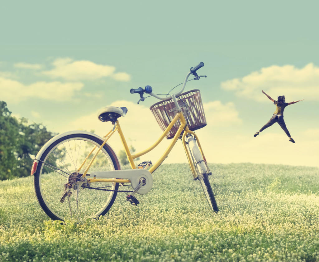 Bicycle on the white flower field and grass in sunshine nature b