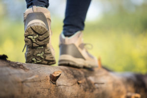 Close up feet of a female hiker.