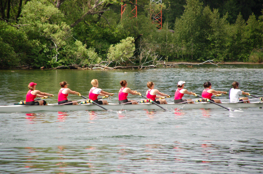 Female rowing team preparing for the next competition
