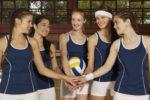 Five young women taking an oath