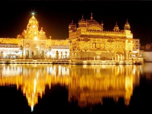 A night view of the Golden Temple, the Sikh holy site in Amritsar, India, which I visited