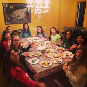 My daughter's 6th-grade holiday party yesterday, decorating cookies at the dining room table