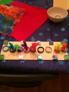 My son's artistic menorah, made today at his 7th grade pre-Chanukah party