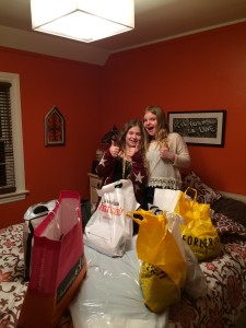 After our 10-hour shopping extravaganza, the girls posed in my room with all our loot. It didn't look like nearly as much as it was.