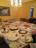 My seder table, ready for our guests tonight.