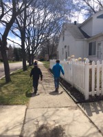 My precious boys, walking home from the rec center, almost skipping on this beautiful spring Friday.