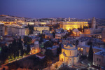 Jerusalem Old City and Mount of Olives at Night, Israel