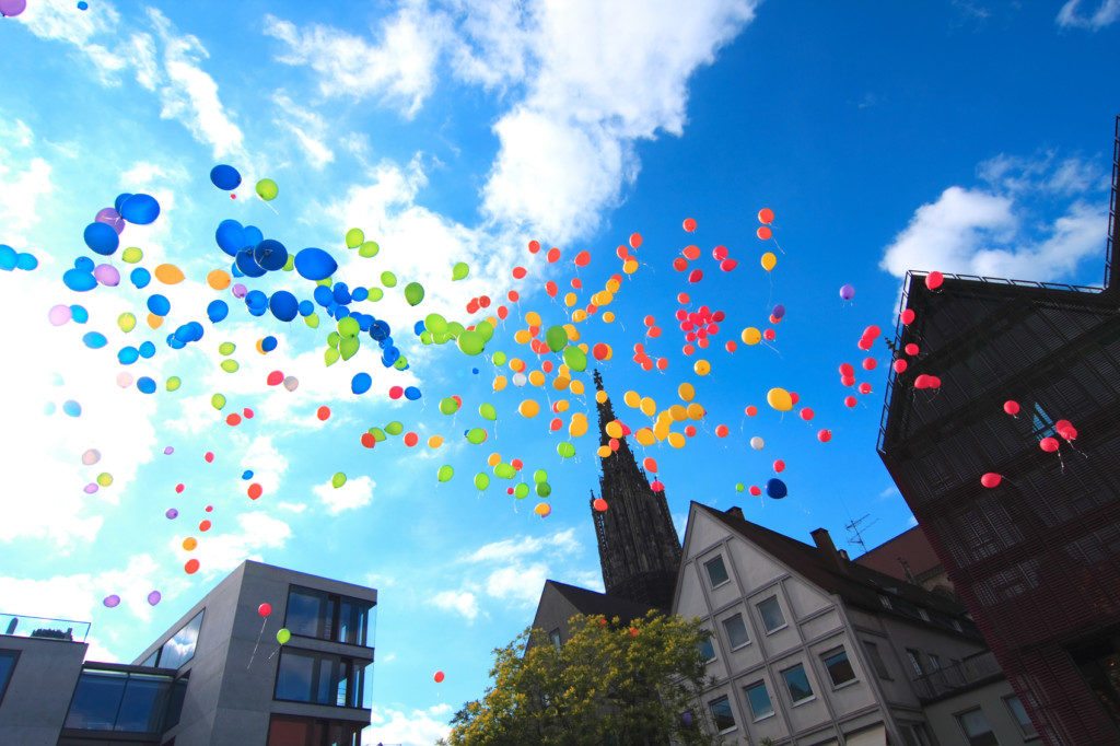 Multicolored balloons in Ulm