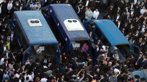 The funeral of three of the victims of this week's Jerusalem synagogue attack
