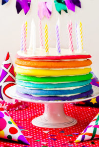 Rainbow cake for  with candles