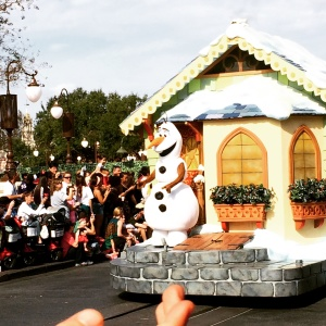 You can see my little boy's hand waving fiercely to Olaf as the parade passed us. The power of belief is incredible.