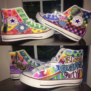 The custom Converse sneakers Eliana wore for her party, painted by Camryn Monfried
