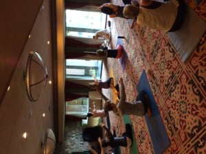 Morning yoga today at the Writing + Yoga Retreat with Lynne Golodner and Katherine Austin