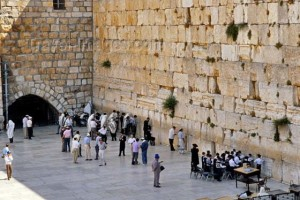 Jews pray at the remaining wall of the ancient Temple in Jerusalem.